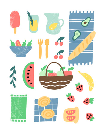 Picnic element vector illustration. Hand drawn ice cream, lemonade, blanket, baguette, salad, cherries, apples, banana, strawberry, sandwich, watermelon, basket, buns, napkin, fork and spoon. For poster or placard