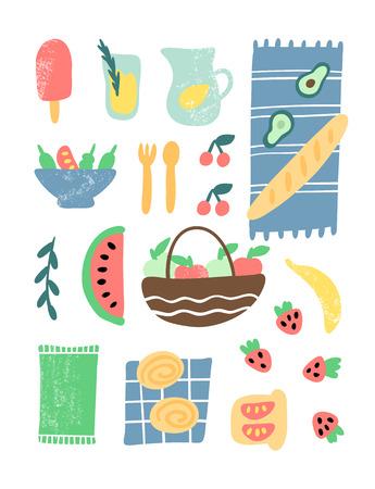 Picnic element vector illustration. Hand drawn ice cream, lemonade, blanket, baguette, salad, cherries, apples, banana, strawberry, sandwich, watermelon, basket, buns, napkin, fork and spoon. For poster or placard