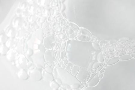 Texture transparente de mousse blanche, bulles de savon