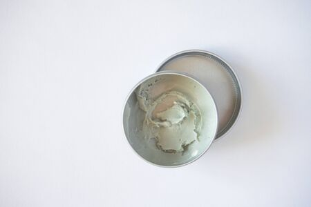 Deodorant cream environmentally friendly in metal container on white background. Zero waste concent