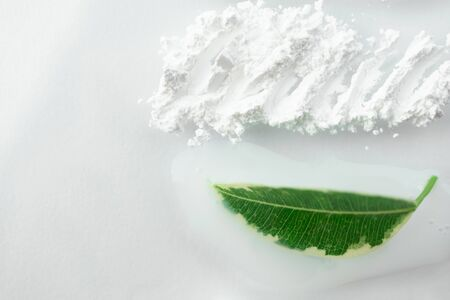 Fresh green leaf and smear moisturizer and translucent loose powder on white background. Natural skin care concept, top view Banco de Imagens - 133660786
