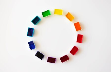 Color wheel or color circle from watercolor palette on white background flat lay, top view. Concept creative tool designer