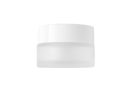 Moisturizer cream or lotion white glass jar mockup isolated on white background. Skincare routine cosmetic product. Blank body and health care packaging