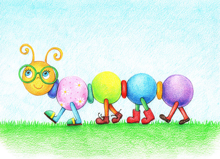 hands drawn picture of cheerful caterpillar in glasses, walking on the grass in the shoes by the pencils
