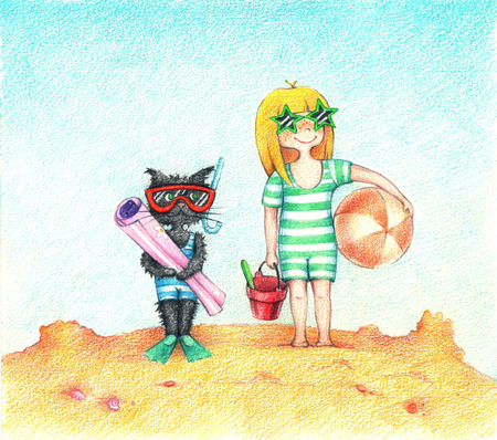 gladness: hands drawn picture of girl and cat, standing on a beach by the pencils