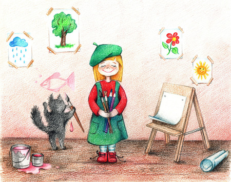 animated film: hands drawn picture of girl-artist and cat in a workshop by the pencils
