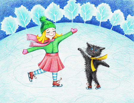 hands drawn picture of girl and cat skating by the color pencils