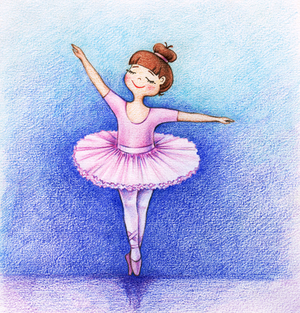 hands drawn picture of little ballet dancer on the stage by the pencils Stock fotó