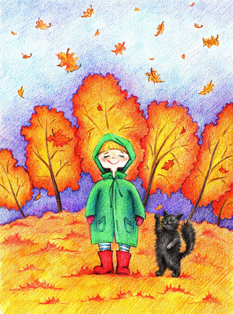 autumn park: hands drawn picture of girl and cat going for a walk in an autumn park by the color pencils