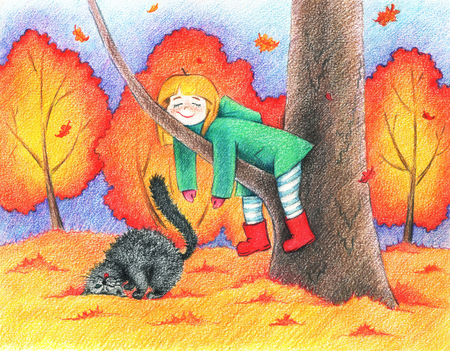 animated film: hands drawn picture of girl and cat going for a walk in an autumn park by the pencils Stock Photo