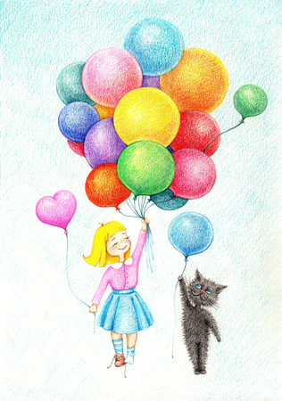 hands drawn picture of girl and cat flying on color balloons by the color pencils