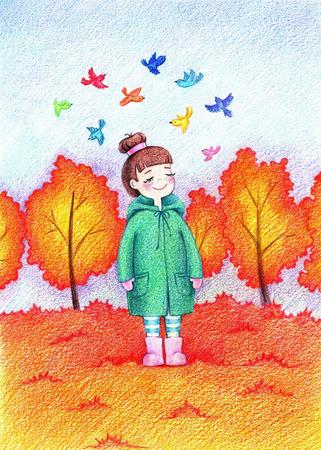 色鉛筆で秋の公園に散歩に行く美しい少女の子供の絵