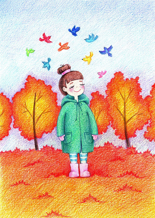 Childs picture of little beautiful girl going for a walk in autumn park by the color pencils