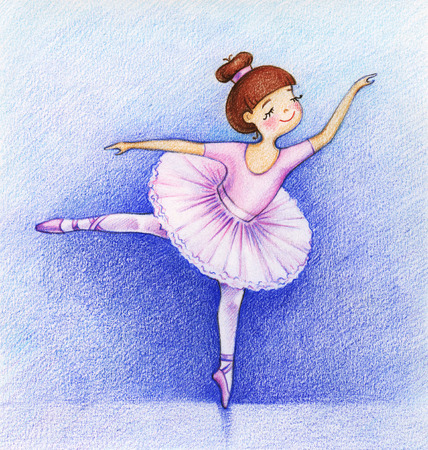 pirouette: Childs picture of little beautiful ballet-dancer on the stage by the color pencils