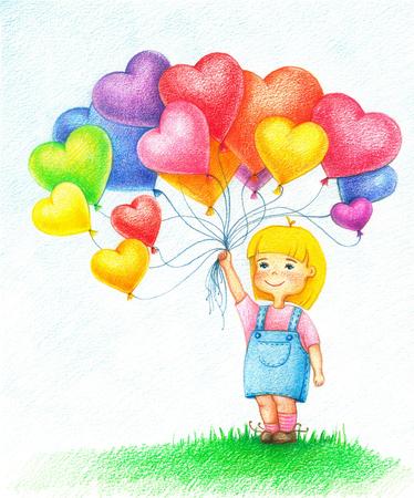Hands drawn picture of young girl with balloons by the color pencils