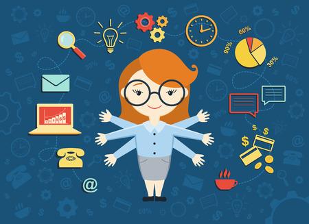Vektor-Illustration der jungen Geschäftsfrau, persönlicher Assistent oder hart arbeiten Sekretärin. Besetzt Sekretärin ihre Arbeit mit einem Lächeln zu verwalten. Geschäftsidee Konzept mit Ikonen der Büroarbeit und E-Commerce