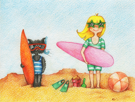 little one: hands drawn picture of girl and cat standing on a beach with surfboards by the color pencils Stock Photo