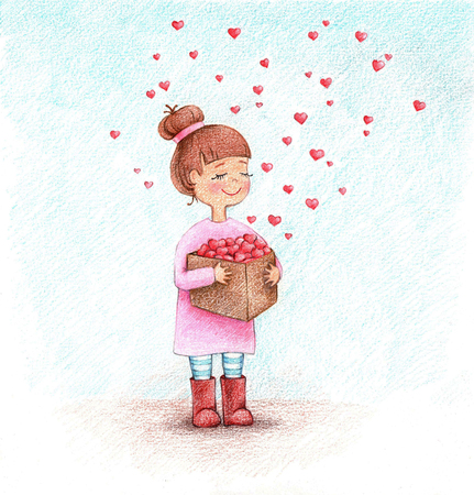 hands drawn picture of girl with box of hearts by the pencils