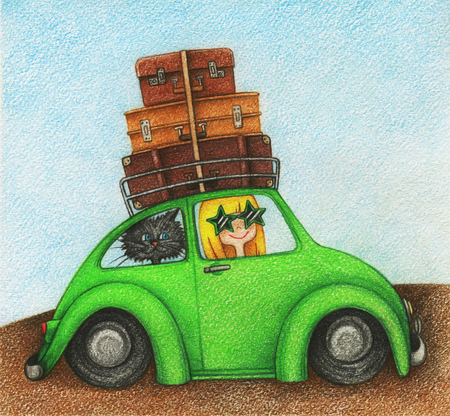 hands drawn picture of girl and cat, traveling by car by the color pencils