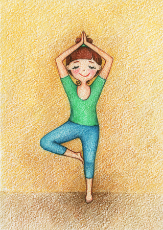 yoga girl: hands drawn picture of girl doing yoga by the pencils. Stock Photo