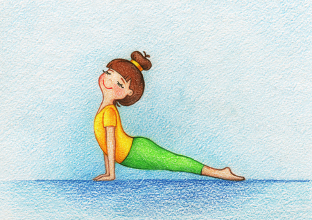 hands drawn picture of girl doing yoga by the pencils. Stock Photo
