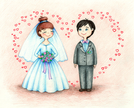 fiancee: hands drawn picture of groom and fiancee by the color pencils