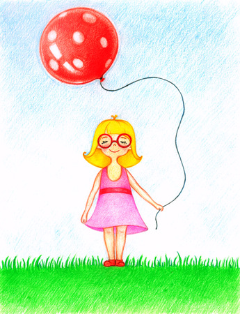 Hände Gezeichnet Bild Von Einem Kleinen Mädchen In Rosa Kleid ...