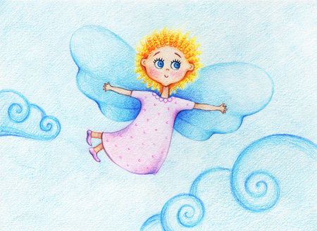 Childs picture of little beautiful angel, flying in sky by the color pencils