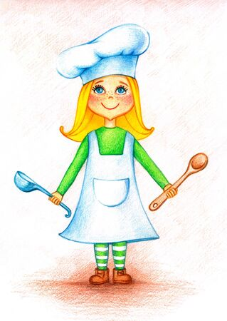 bailer: Hands drawn picture of  little cook with spoon and bailer by the color pencils