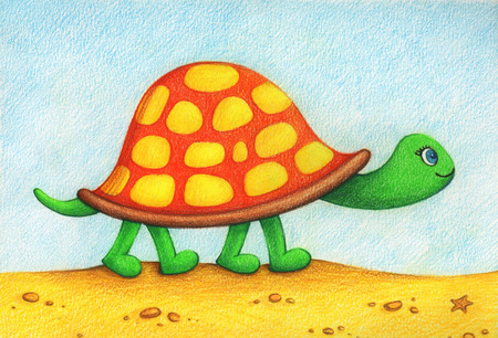 Hands Drawn Picture Of Turtle Going For A Walk On Beach By The Color Pencils