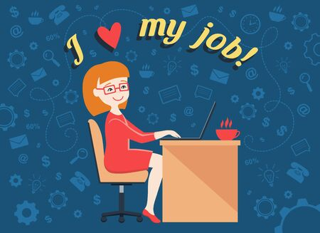 hard working: Flat design illustration of personal assistant or hard working woman with smile and text I love my job! Illustration