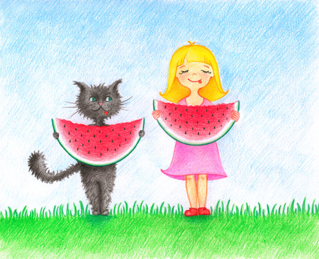 hands drawn picture of girl in pink dress and cat standing on a lawn and eating a water melon by the color pencils Stock fotó