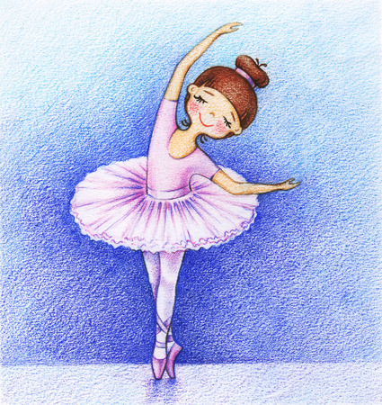 pirouette: Childs picture of little ballet-dancer on the stage by the color pencils