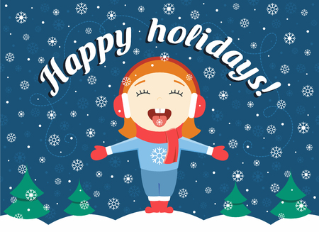 'catch the moment': flat design illustration of cute little girl standing in the winter park catching snowflakes and text Happy holidays!
