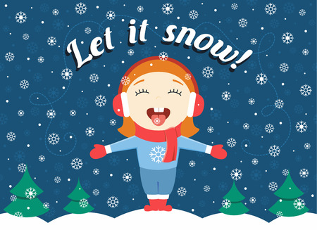 "flat design illustration of cute little girl standing in the winter park catching snowflakes and text ""Let it snow!"""