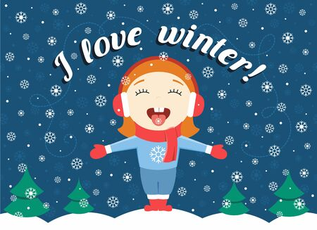 'catch the moment': flat design illustration of cute little girl standing in the park catching snowflakes and text I love winter! Illustration