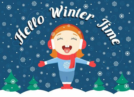 'catch the moment': flat design illustration of cute little girl standing in the park catching snowflakes and text Hallo winter time Illustration