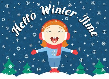 """Płaska konstrukcja ilustracja słodkie dziewczynki stojącej w parku połowu płatki śniegu i tekst """"Cześć zimowy czas"""""""