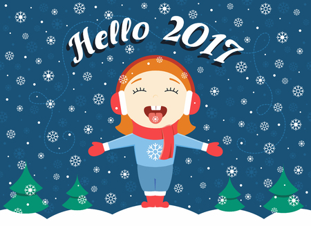'catch the moment': flat design illustration of cute little girl standing in the park on a winter evening greeting New Year and catching snowflakes Illustration