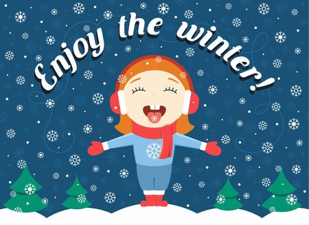 'catch the moment': flat design illustration of cute little girl standing in the park catching snowflakes and text Enjoy the winter!
