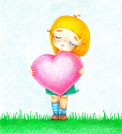 Hands drawn picture of young girl in green dress with pink heart standing on grass by the color pencils