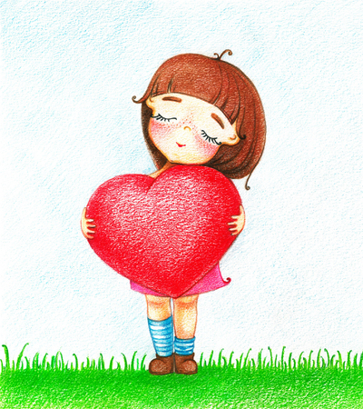 amorousness: Hands drawn picture of young girl in pink dress with red heart standing on grass by the color pencils Stock Photo