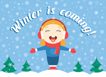 'catch the moment': flat design vector illustration of cute little girl standing in the park catching snowflakes and text Winter is coming!