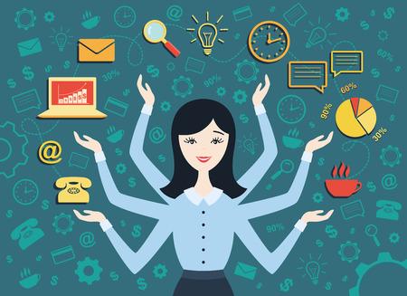 Platte ontwerp vector illustratie van jonge zakenvrouw, personal assistant of hard werken secretaresse