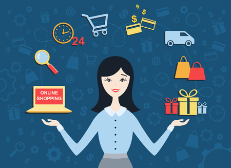 internet sale: Flat design vector illustration of  young woman shows process of on-line shopping