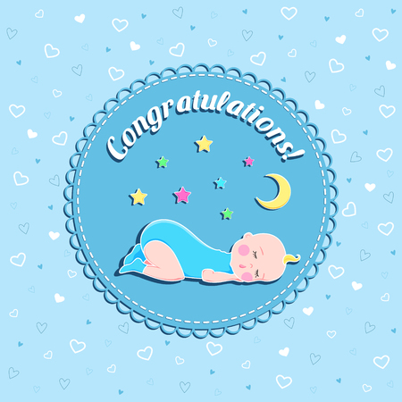 Funny newborn birthday vector card with sleeping baby, moon and stars on blue background with hearts for boy