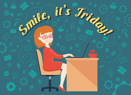 its: Flat design vector illustration of office worker, personal assistant or business woman and text Smile, its Friday! Illustration