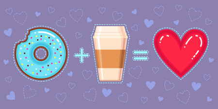 equalization: Flat design vector illustration of chocolate donut with blue glaze, coffee and red heart on violet backgroun