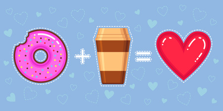 equalization: Flat design vector illustration of chocolate donut with pink glaze, coffee and heart on blue background