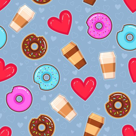 Flat design vector pattern of donuts with pink and chocolate glaze, coffee and hearts on blue background